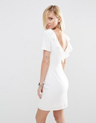 Asos Ruffle Back Mini Dress Ivory Cream