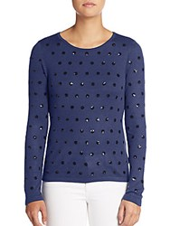 Saks Fifth Avenue Red Sequined Polka Dot Sweater Navy Black