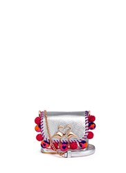 Sophia Webster 'Claudie Pom Pom' Pebbled Metallic Leather Shoulder Bag Multi Colour