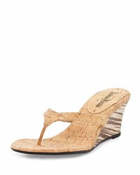 Neiman Marcus Malana Cork Striped Wedge Sandal Natural