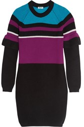 Kenzo Color Block Ribbed Wool Mini Dress Black