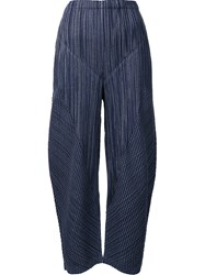 Issey Miyake Pleats Please By Curved Leg Trousers Blue