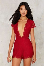 Nbd Cherry Bomb Lace Romper Red