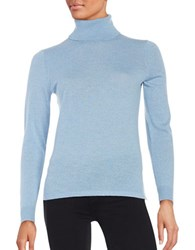 Lord And Taylor Merino Wool Turtleneck Sweater Blue Shell Heather