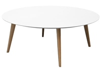 Lalinde Coffee Table Round Xxl O 95 Cm White Legs Wood Coffee Table Sentou Edition
