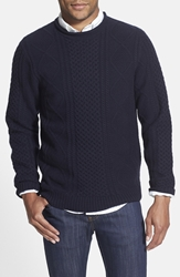 Wallin And Bros. Cable Knit Roll Neck Sweater Navy