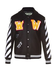 Off White Patches Applique Logo Print Varsity Jacket Black Multi