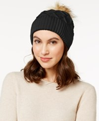 Steve Madden Faux Fur Cable Knit Cuff Hat Black