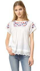 Rebecca Taylor Short Sleeve Garden Embroidered Top Snow