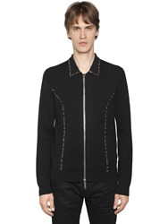 Dsquared Studded Zip Up Wool Cardigan