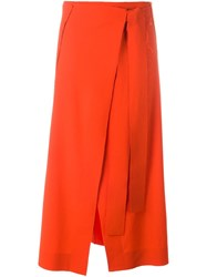 Cedric Charlier Flannel Wrap Skirt Red