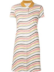 Carven Striped Polo Shirt Dress White