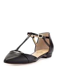 Ivanka Trump T Strap Pointy Toe Flat Black