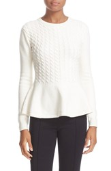 Ted Baker Women's London 'Mereda' Cable Knit Peplum Sweater Natural