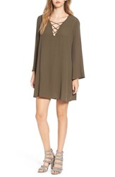 Astr Women's Lace Up Bell Sleeve Shift Dress Olive