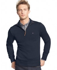 Tommy Hilfiger Men's Big And Tall Signature Solid Quarter Zip Sweater Navy Blaze