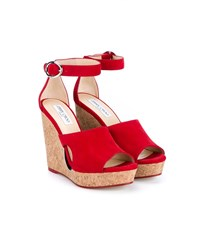 Jimmy Choo Neyo 120 Suede Cork Cutout Wedges Red