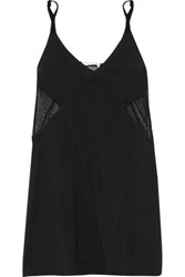 Skin Mesh Paneled Pima Cotton Chemise Black