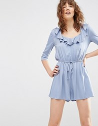 Asos Ruffle Front Playsuit Light Blue