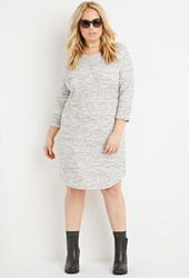 Forever 21 Plus Size Marled Sweatshirt Dress Grey Cream