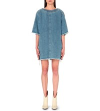 Chloe Frayed Denim Dress Light Blue Denim
