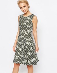 Closet London A Line Dress In Retro Spot Print Khaki Green