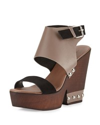Charles David Teisha Leather Suede Wedge Sandal Taupe Black