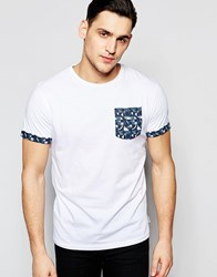 Bellfield T Shirt With Geometric Print Pocket White