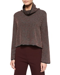 Clover Canyon Long Sleeve Textured Knit Top Black Multicolor