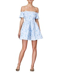 Cynthia Rowley Floral Off The Shoulder Dress White Blue