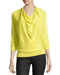 Paperwhite Silk Drape Neck Sweater Chartreuse