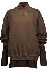 Haider Ackermann Layered Cotton Jersey And Silk Top Army Green