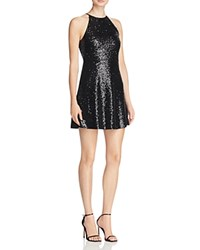 Aqua Sequin Fit And Flare Dress Black