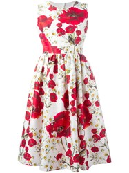 Dolce And Gabbana Daisy And Poppy Print Dress White