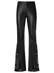 Martha Medeiros Leather Flared Trousers Black