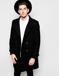Rhino Funnel Neck Wool Rich Overcoat Black