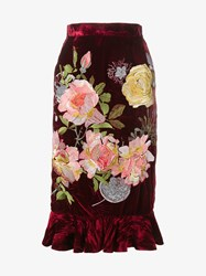 Alice Archer Delia Rose Embroidered Velvet Skirt Red Rose Multi Coloured