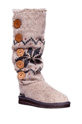 Muk Luks Malena Crochet Faux Shearling Button Up Boot Beige