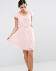 Pussycat London Skater Dress With Lace Up Front Peach Pink