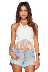 Free People Fringe Halter Crop Top White