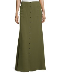 Haute Hippie Silk Button Front Maxi Skirt Military