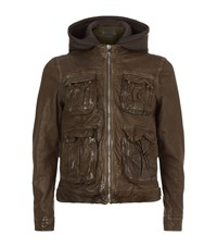 Neil Barrett Double Layered Leather Jacket Male Green