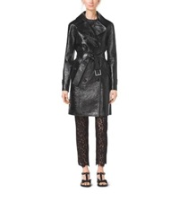 Michael Kors Bonded Crackle Patent Leather Trench Coat Black