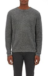 Barneys New York Men's Cashmere Thermal Stitched Sweater Black