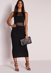 Missguided Jersey Mesh Insert Midi Dress Black Black