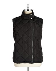 Marc New York Faux Leather Trimmed Quilted Vest Black