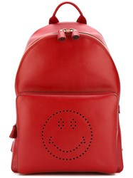 Anya Hindmarch Smiley Backpack Red
