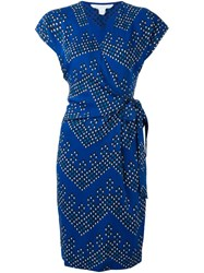 Diane Von Furstenberg V Neck Wrap Dress Blue