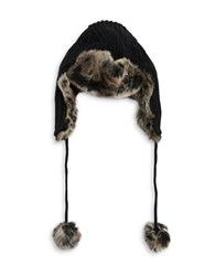 Parkhurst Faux Fur Trimmed Knit Trapper Hat Black