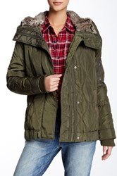 Levi's Faux Fur Hood Onion Quilted Long Bomber Jacket Green